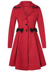 Plus Size Bowknot Skirted Wool Coat -