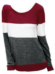 Sweat-shirt en Blocs de Couleurs de Grande Taille -