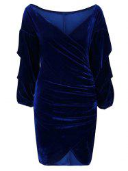V Neck Wrap Ruched Bodycon Dress -