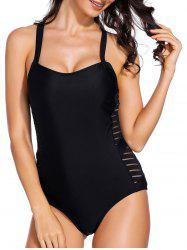 Criss Cross Sheer Mesh Insert One Piece Swimsuit -