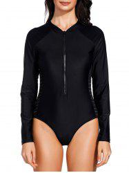 Half Zipper Sheer Mesh Insert One Piece Swimsuit -