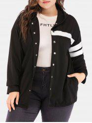 Plus Size Hooded Contrast Jacket -