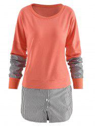 Vertical Striped Panel Sweatshirt -