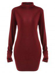 Turtleneck Long Sleeve Mini Dress -