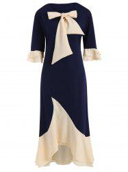Half Sleeve Color Block Plus Size Fishtail Dress -