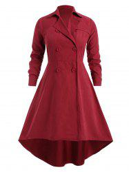 Plus Size Double Breasted Asymmetrical Trench Coat -