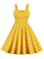 Vintage Polka Dot High Waist Swing Dress -