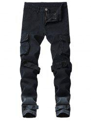 Casual Stripe Velcro Multi Pockets Ombre Cargo Pants -