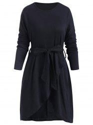 Belted Long Sleeve Tulip Dress -