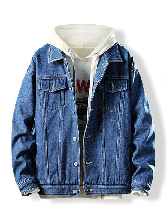 Кнопка Fly Turn-Down Collar Fleece Denim Jacket