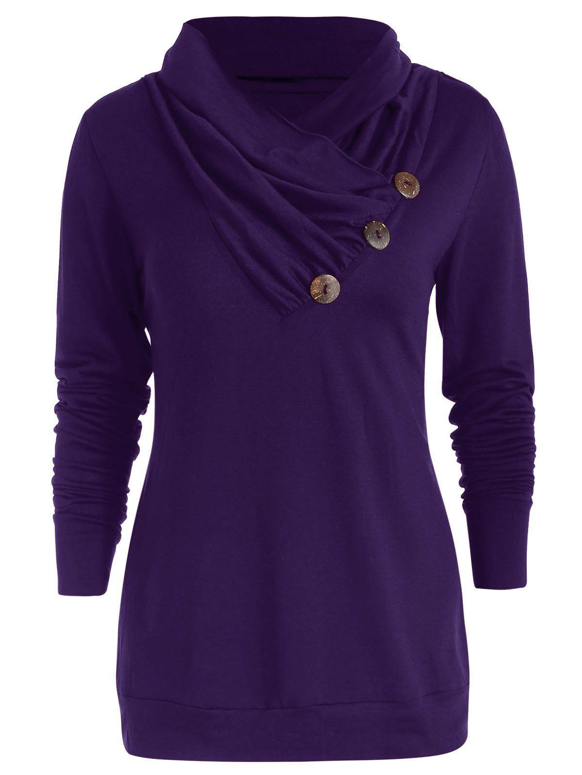 Chic Cowl Neck Button Embellished T Shirt