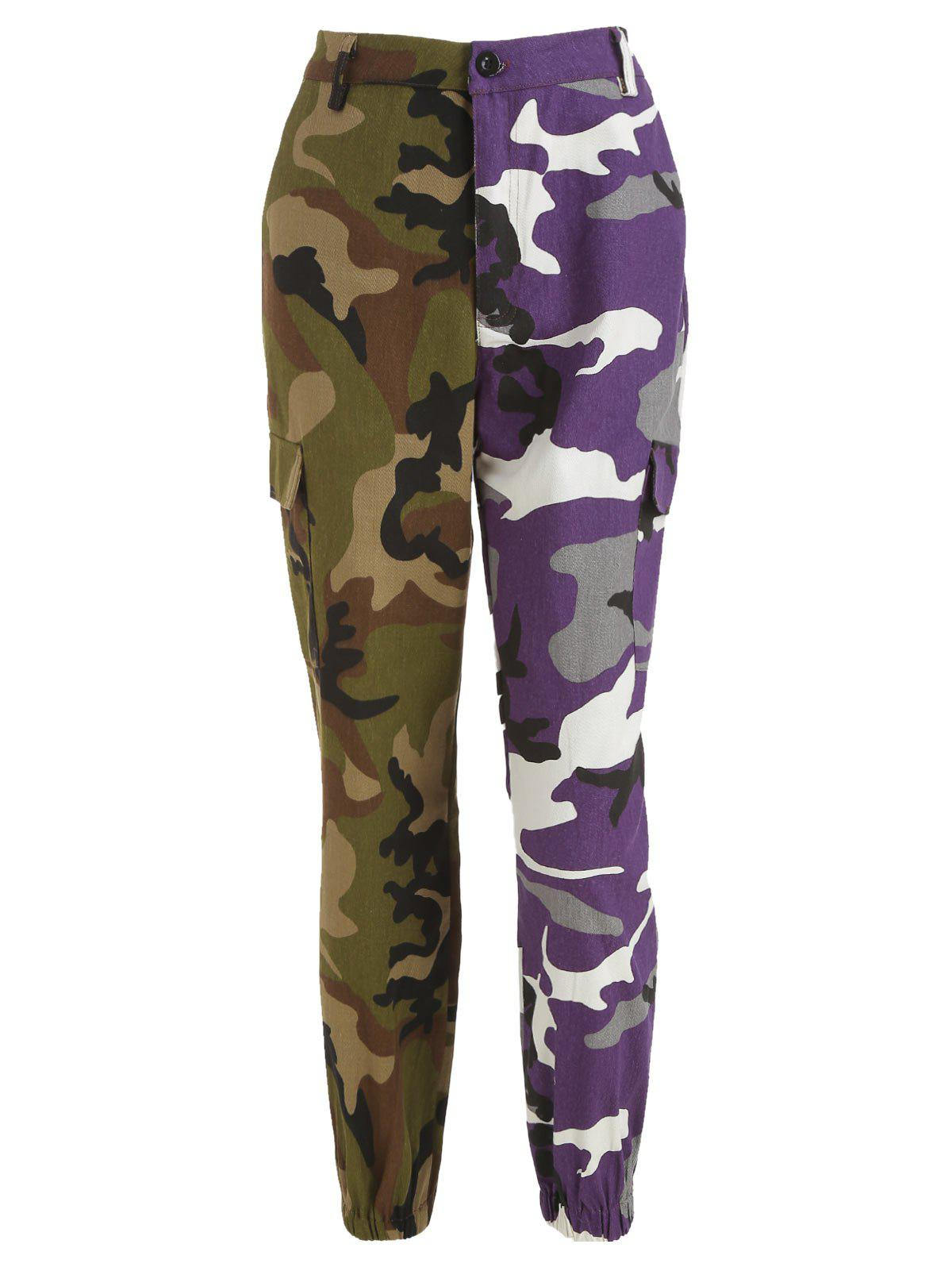 Sale Camo Patchwork Zip Fly Pants