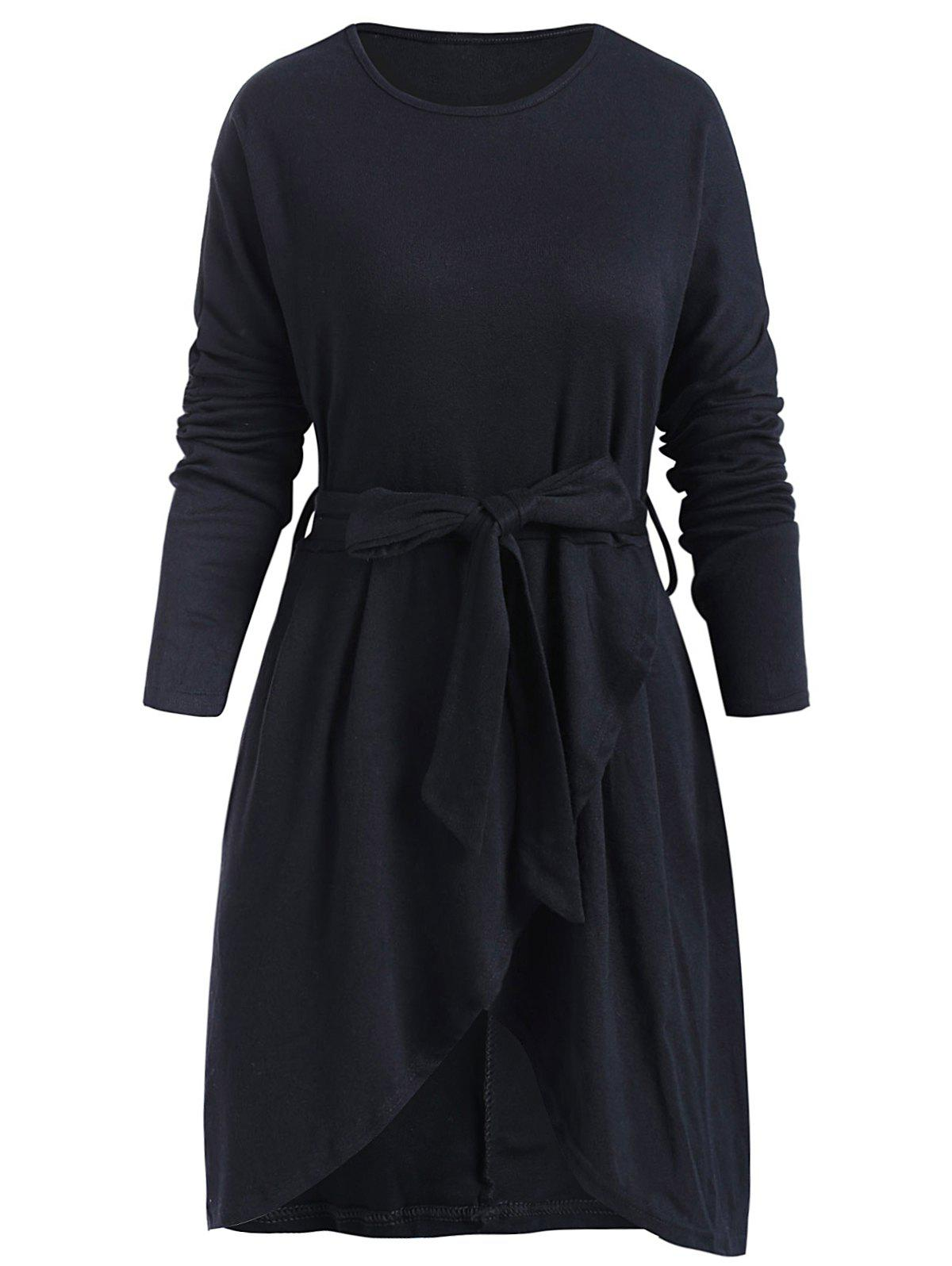 Chic Belted Long Sleeve Tulip Dress