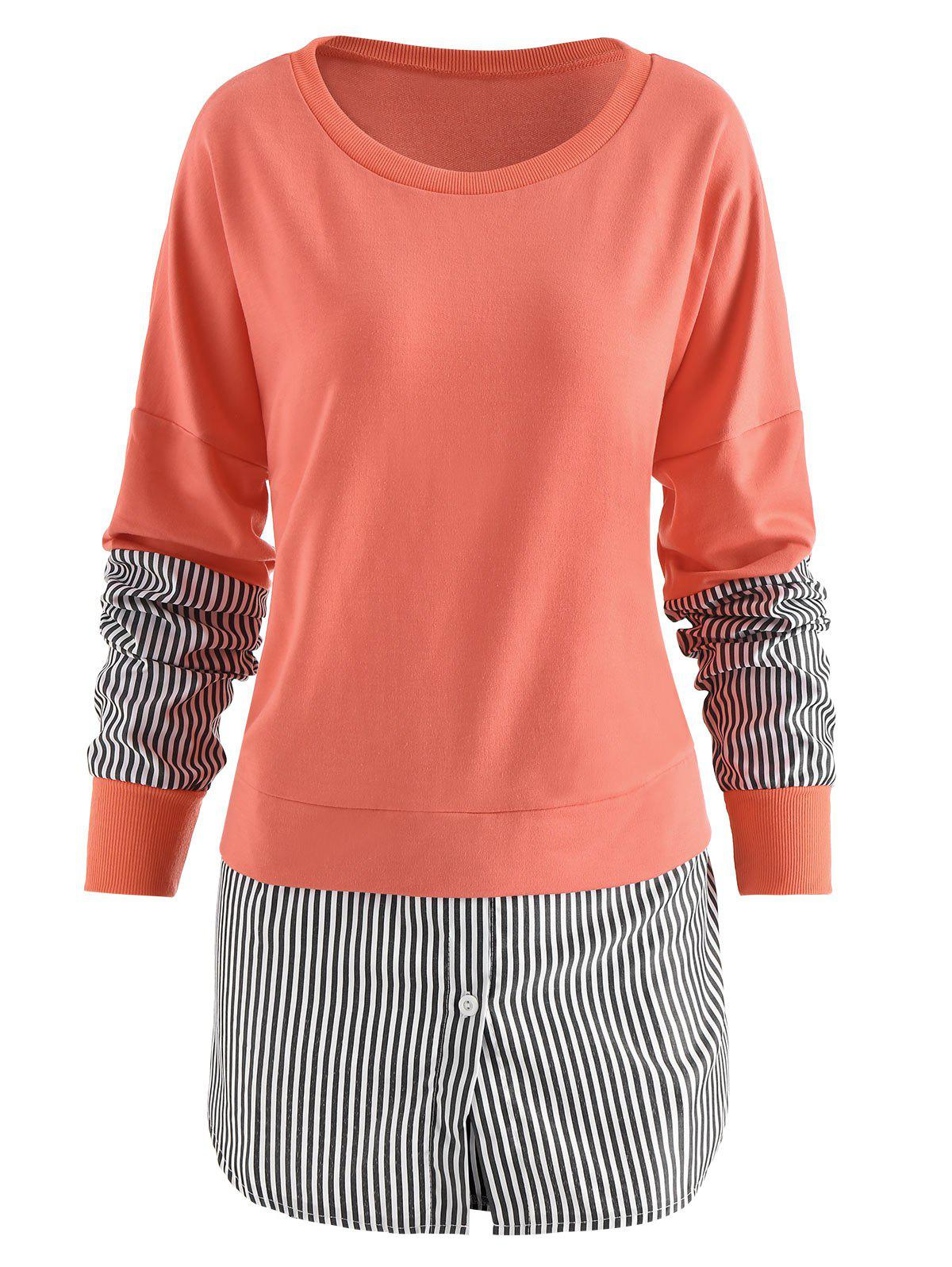 Affordable Vertical Striped Panel Sweatshirt