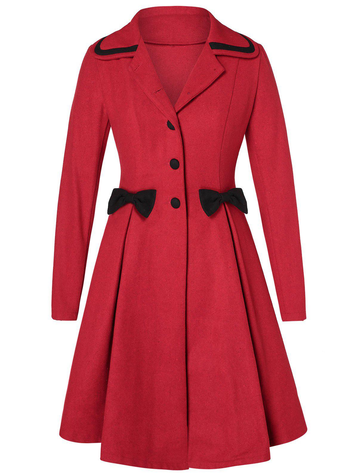 Affordable Plus Size Bowknot Skirted Wool Coat