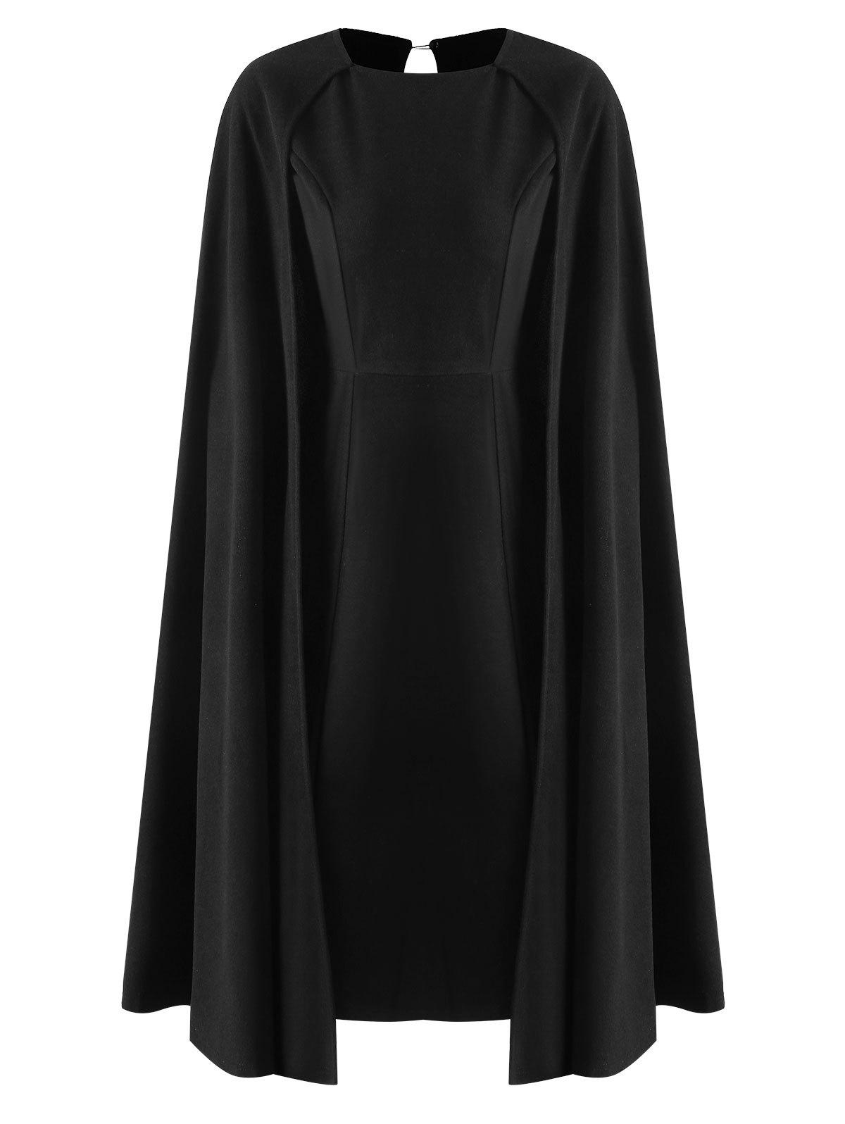 Affordable Midi Bodycon Cape Dress