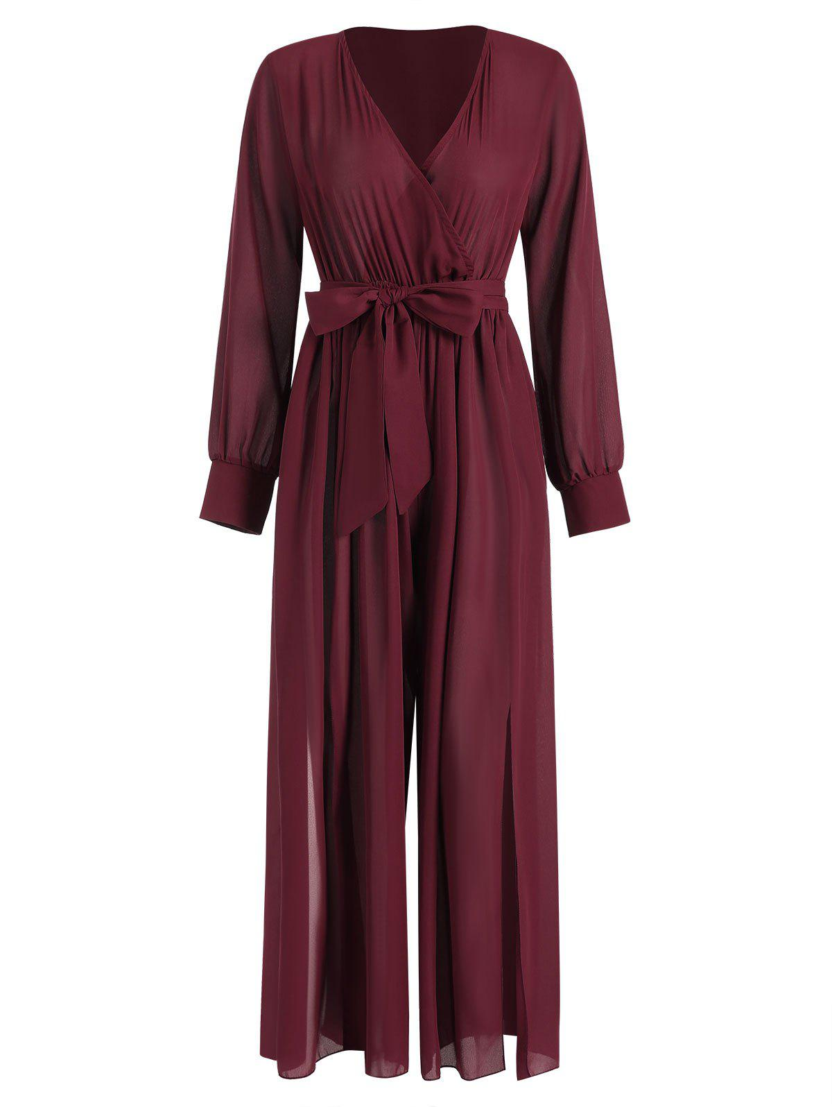 Hot Plunging Neckline High Slit Wide Leg Maxi Jumpsuit