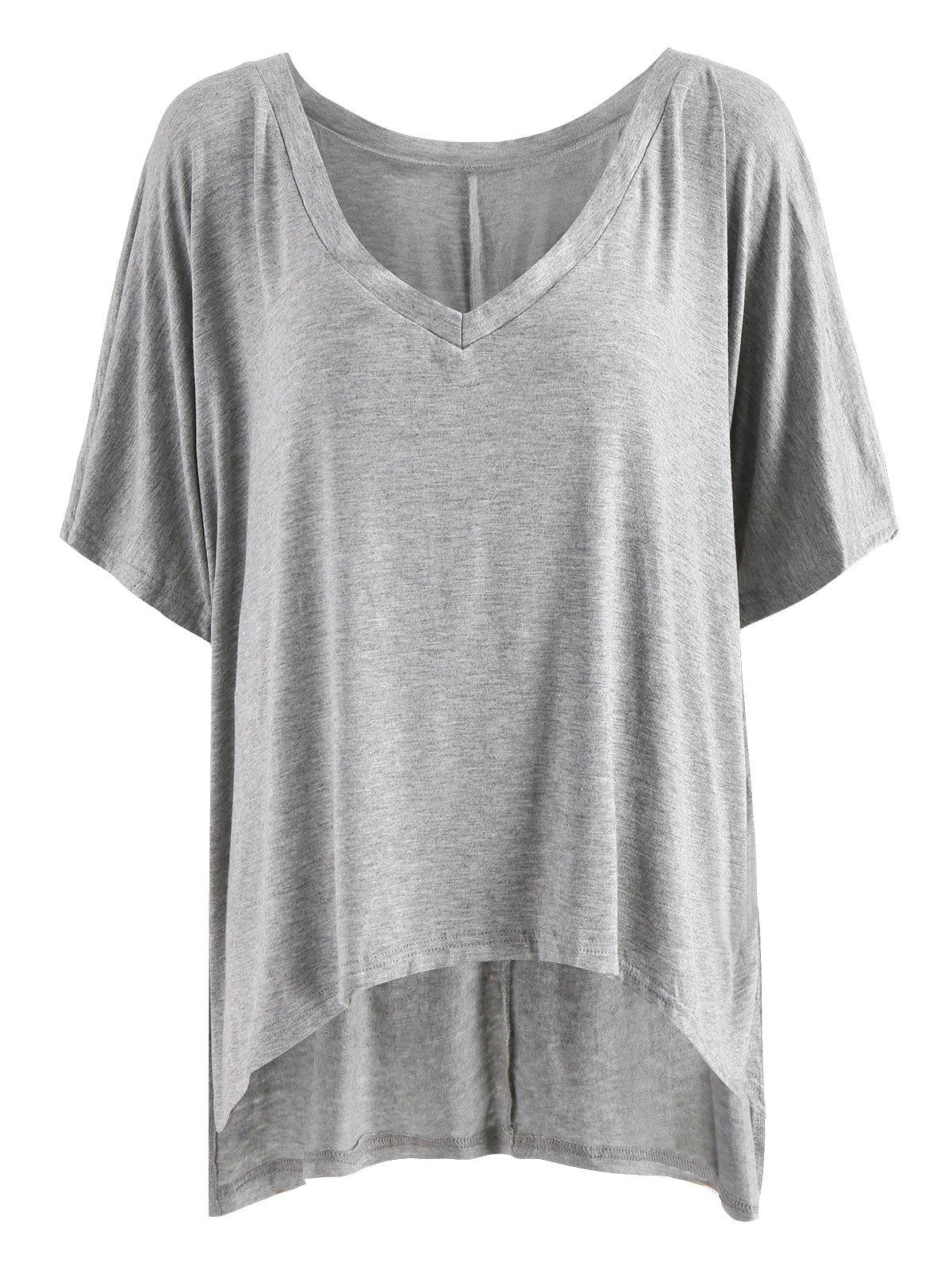 Outfits V Neck High Low Tunic T Shirt