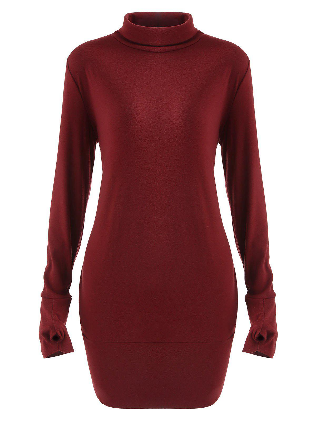 Latest Turtleneck Long Sleeve Mini Dress