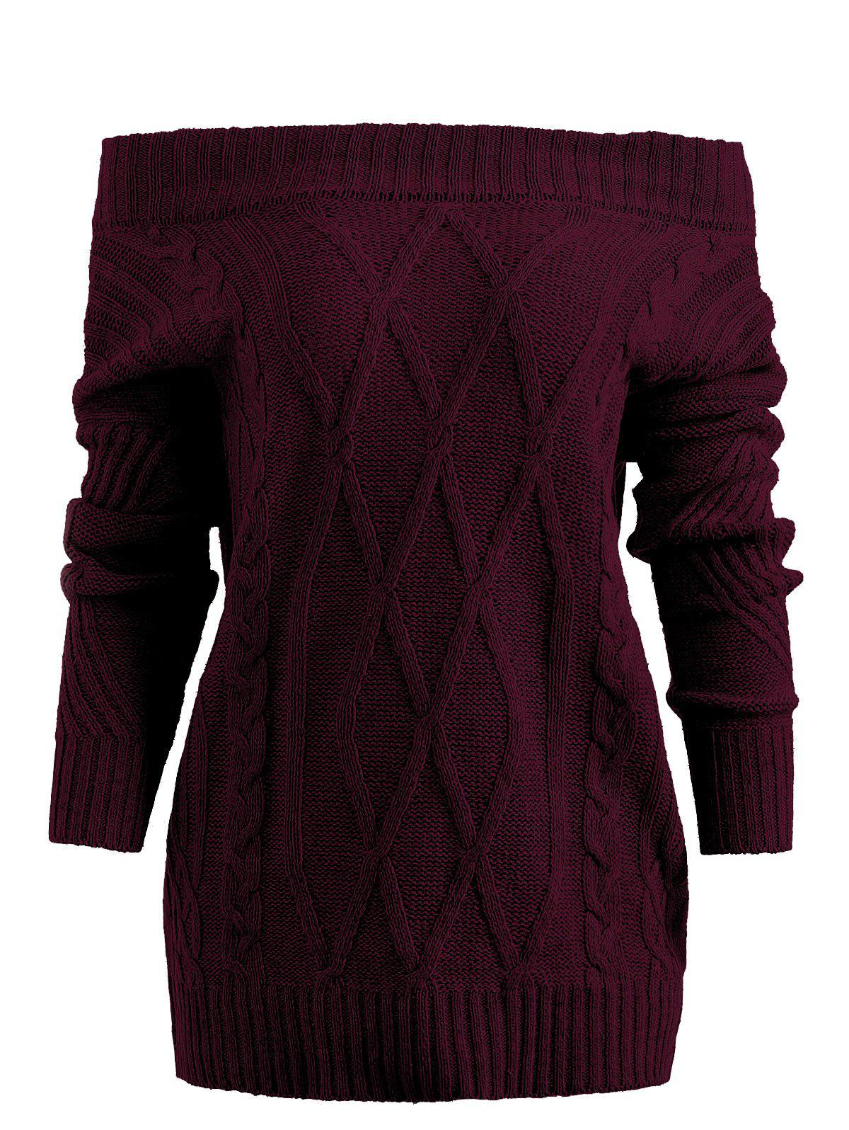 Buy Off Shoulder Geometric Chunky Sweater