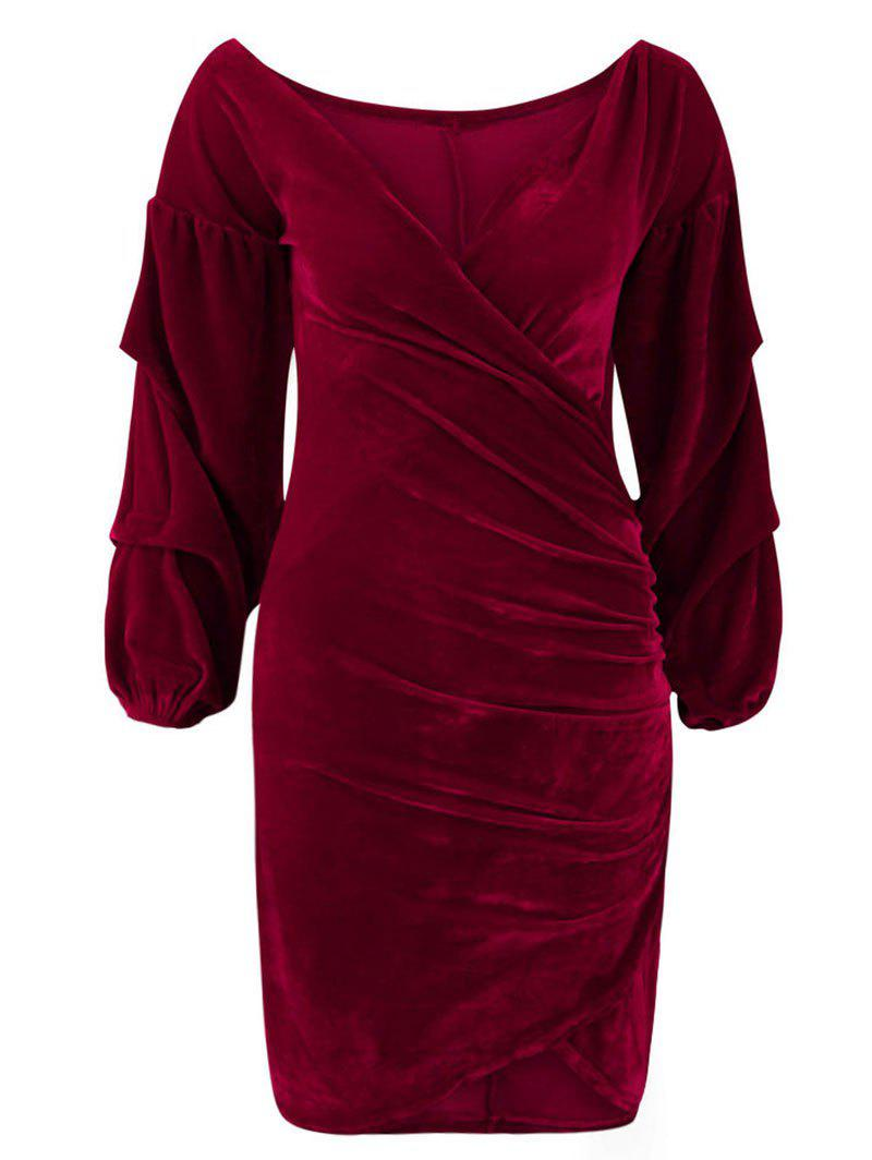Outfit V Neck Wrap Ruched Bodycon Dress