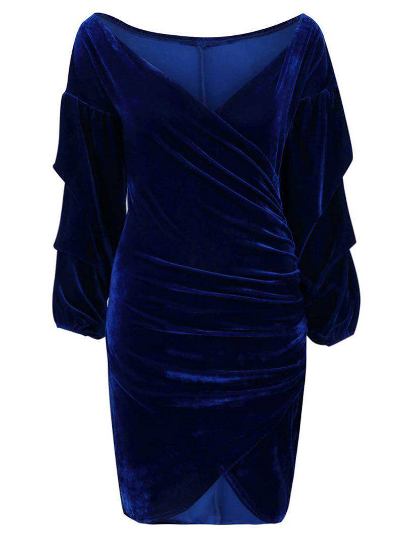 Best V Neck Wrap Ruched Bodycon Dress