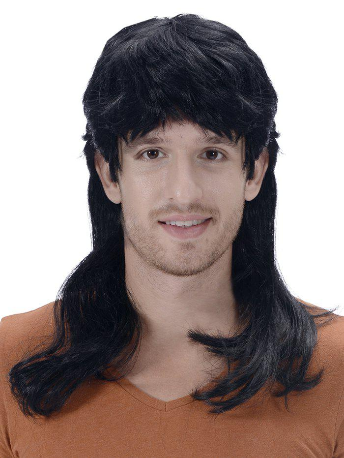 Unique Medium Full Bang Layer Straight Synthetic Men Wig