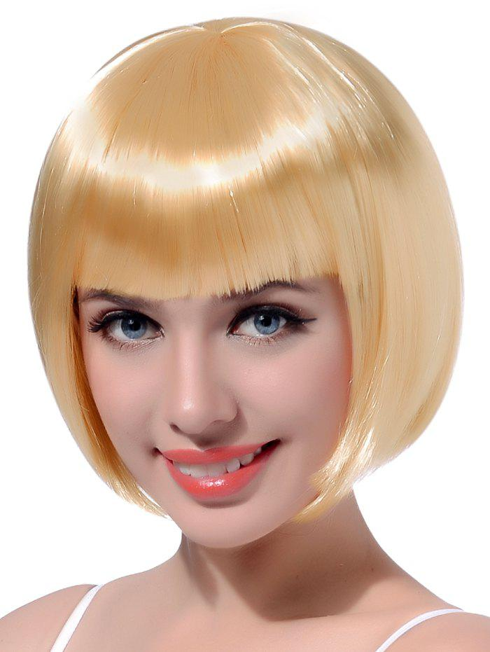 Trendy Neat Bang Short Straight Bob Cosplay Party Synthetic Wig