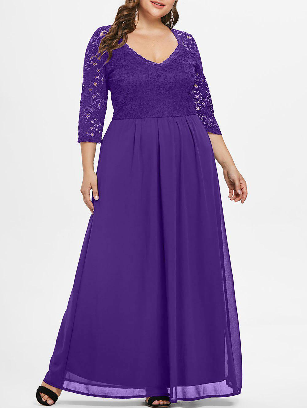 Discount Sweetheart Neck Plus Size Lace Panel Maxi Dress
