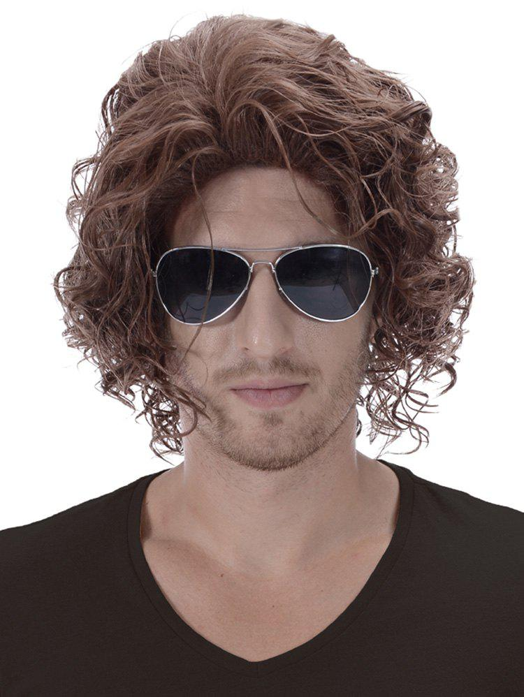 Chic Short Side Bang Shaggy Curly Synthetic Men Wig