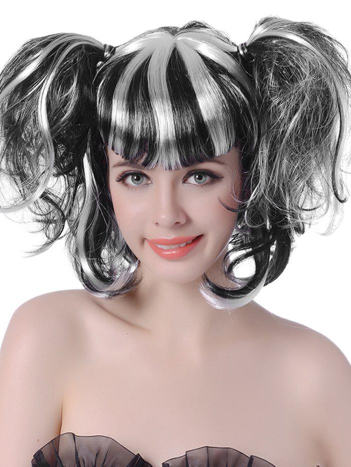Store Short Full Bang Colormix Two Ponytails Wavy Cosplay Synthetic Wig