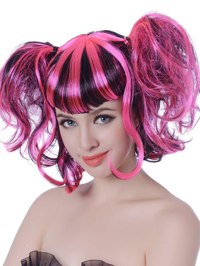 New Short Full Bang Colormix Two Ponytails Wavy Cosplay Synthetic Wig