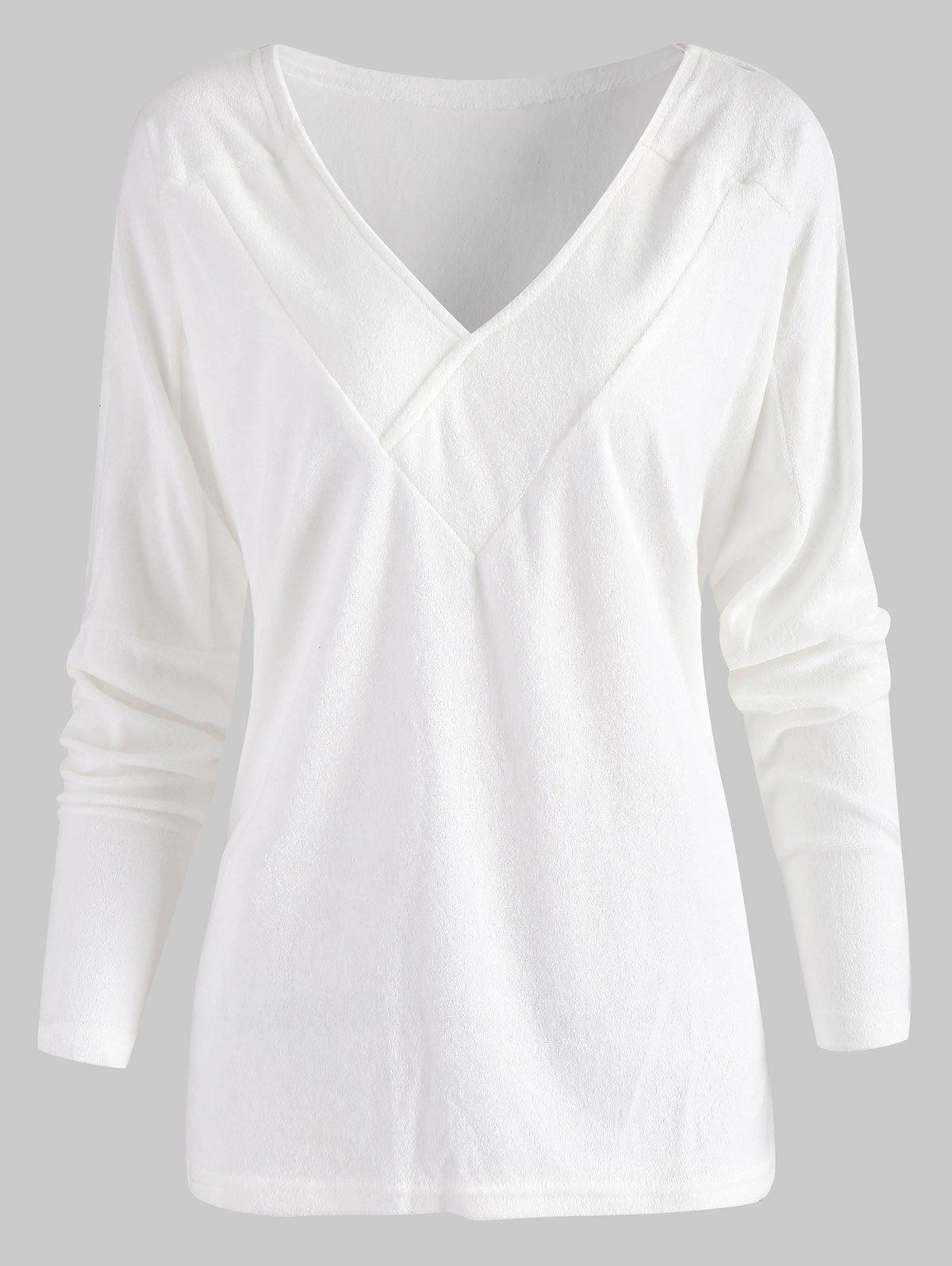 Unique V Neck Batwing Sleeve T Shirt