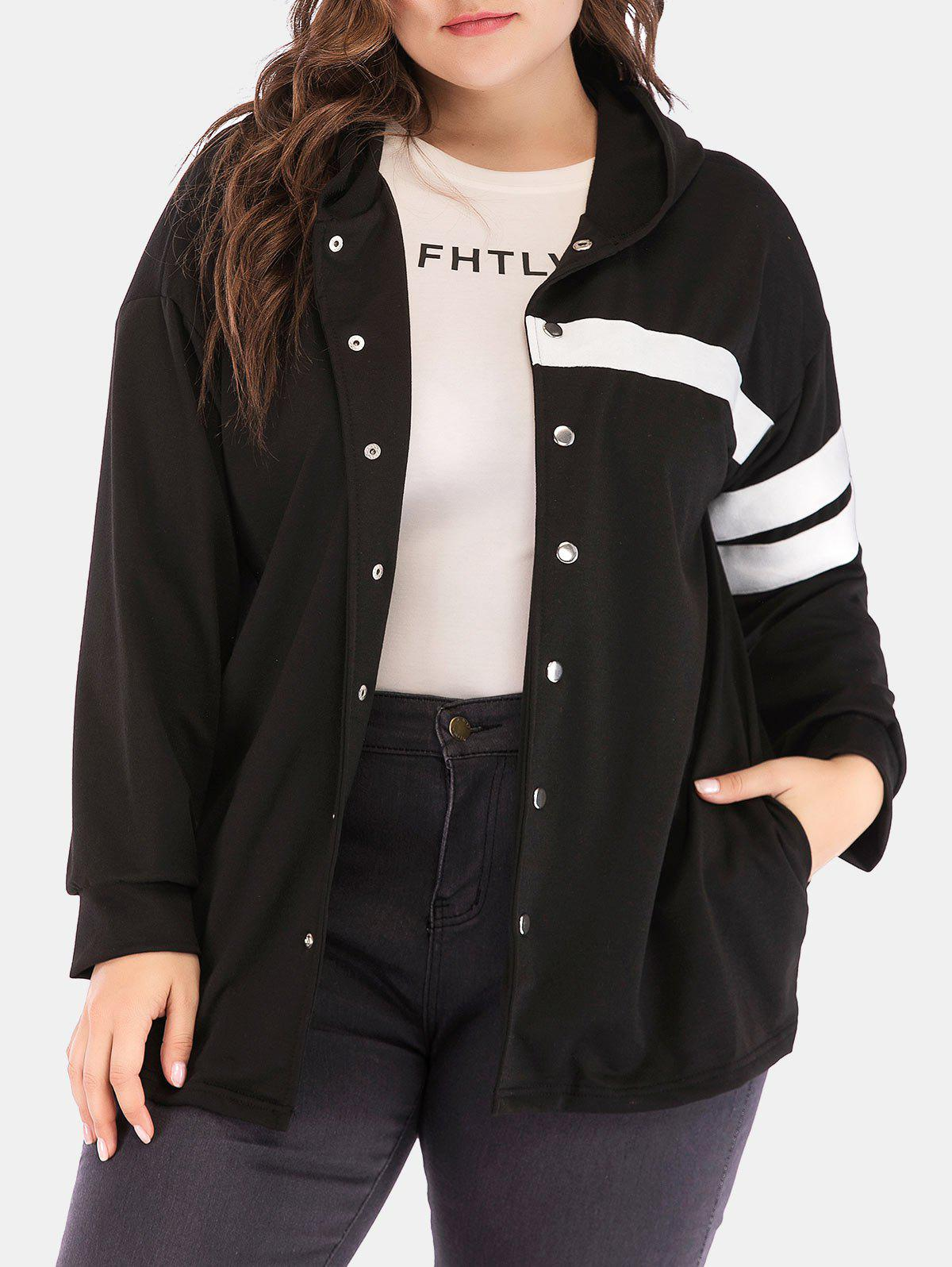 Chic Plus Size Hooded Contrast Jacket