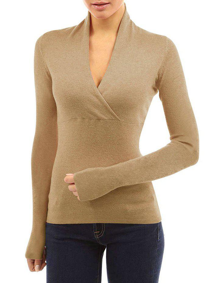 Outfits Wrap Plunging Neck Plain T Shirt