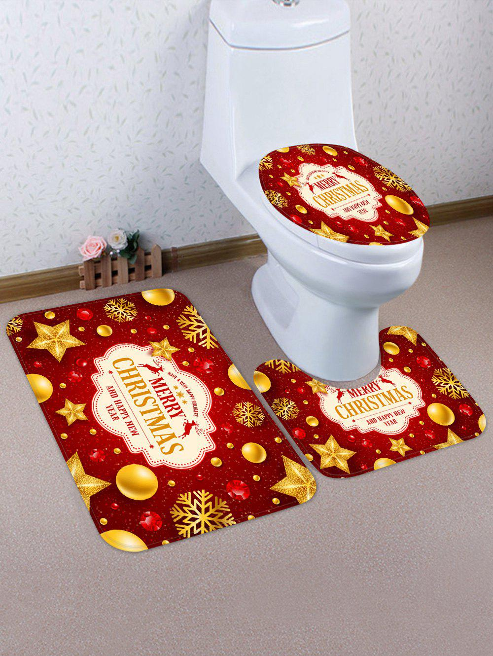 Affordable Merry Christmas Elk Snowflake 3 Pcs Bathroom Toilet Mat