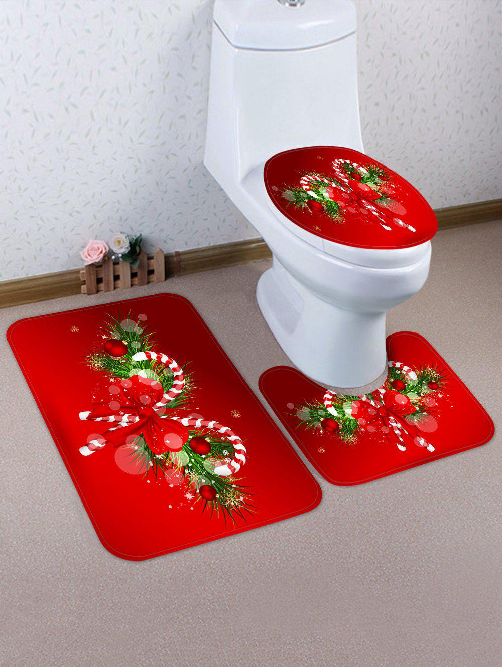 Fashion Christmas Candy Cane 3 Pcs Bathroom Toilet Mat