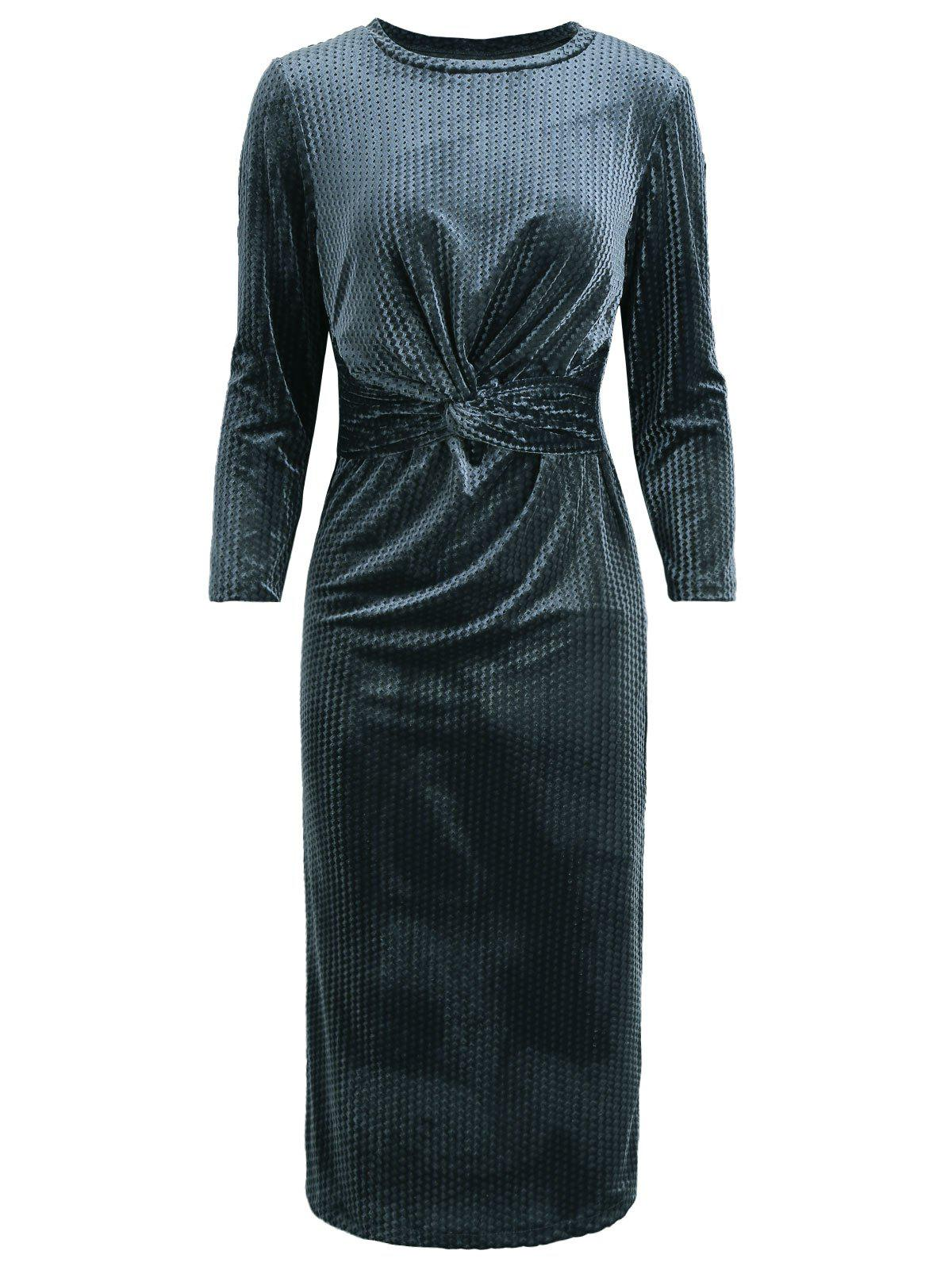Hot Velour Knotted Round Neck Bodycon Dress