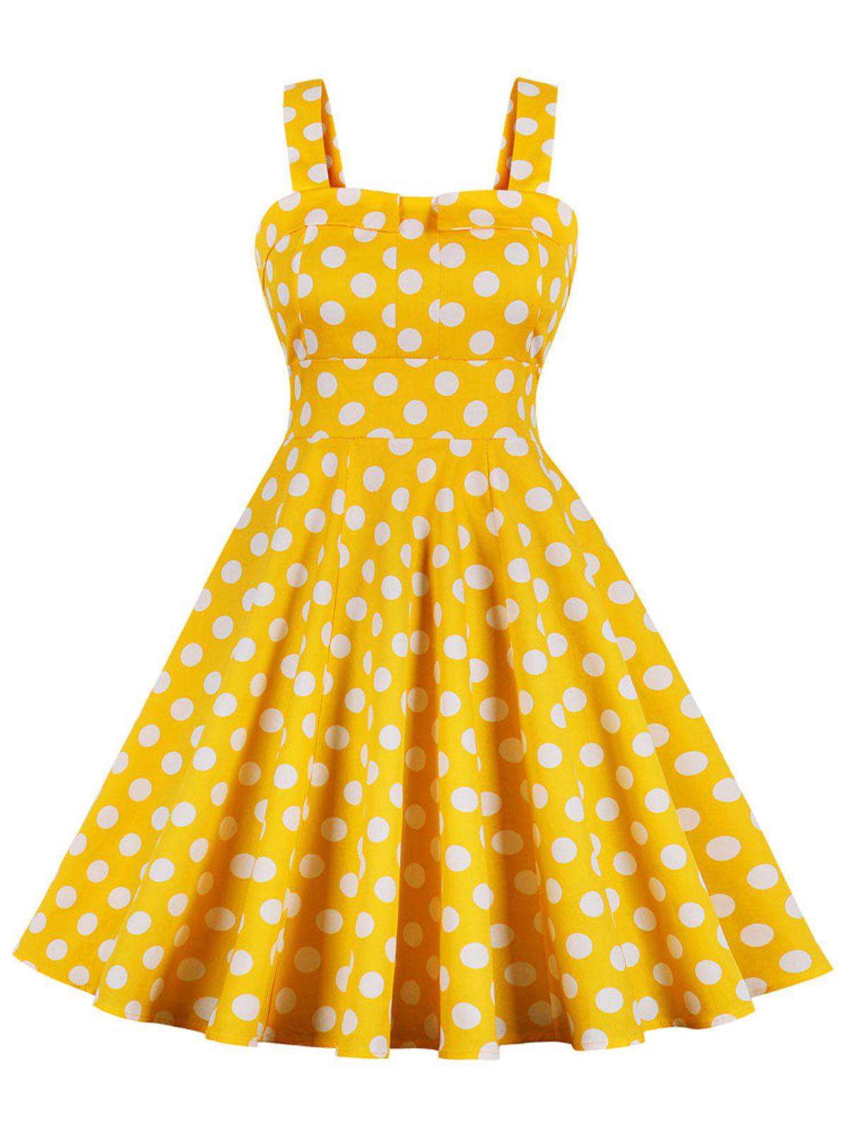 Best Vintage Polka Dot High Waist Swing Dress