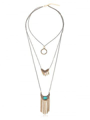 Multilayered Tassel Bohemian Turquoise Necklace