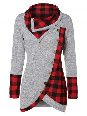 Turtleneck Tartan Asymmetrical Sweatshirt