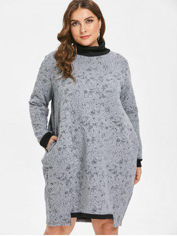 1da27b494fb Plus Size Flower Turtleneck Tunic Dress