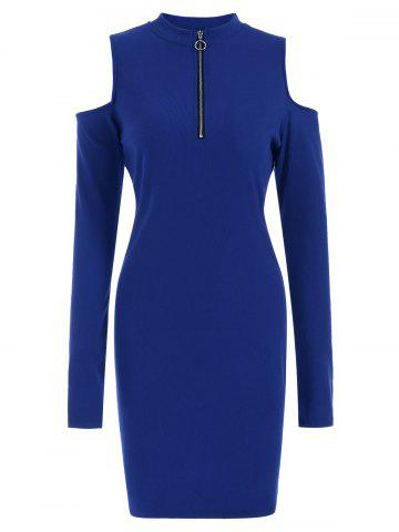 Half Zip Cold Shoulder Long Sleeves Bodycon Jumper Dress
