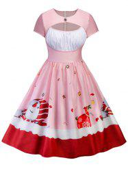 Short Sleeve Plus Size Snowman Pattern Vintage Dress -