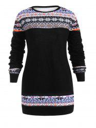 Plus Size Christmas Print Pullover Sweater -