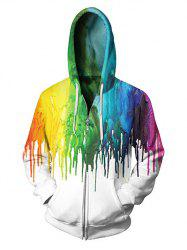 Tie Dye Splash Paint Zipper Hoodie -