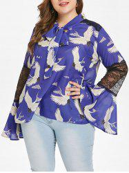 Flare Sleeve Birds Print Plus Size Blouse -