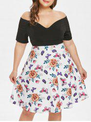 Plunge Plus Size Floral Print Fit and Flare Dress -