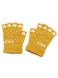 Heart Fingerless Knit Gloves -