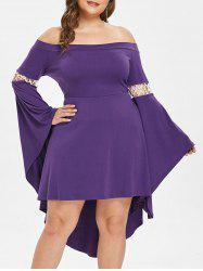 Off The Shoulder Bell Sleeve Plus Size Asymmetrical Dress -